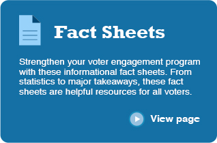 Fact Sheets Strengthen your voter engagement program with these informational fact sheets. From statistics to major takeaways, these fact sheets are helpful resources for all voters. ‣ View page
